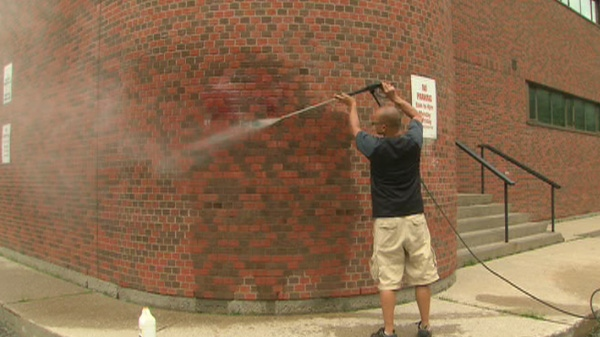 A Bayview Avenue synagogue was the target of two pieces of anti-Semitic graffiti on Friday, Aug. 5, 2011.