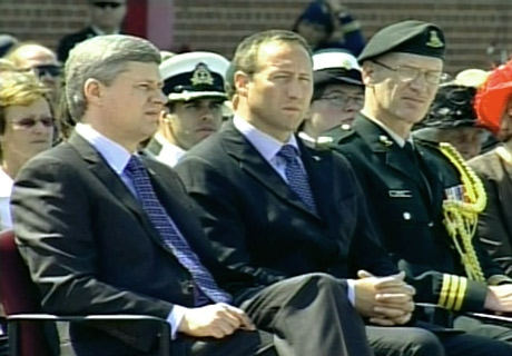 Prime Minister Stephen Harper and Defence Minister Peter MacKay look on as Gen. Rick Hillier handed over his duties as Canada's chief of defence staff to his successor Lt.-Gen. Walter Natynczyk on Wednesday, July 2, 2008.