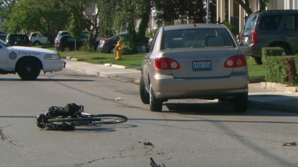 An elderly cyclist was struck and killed by a car in Toronto's east end on August 5, 2011.