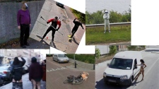 Google's Street View service has provided images of many pranks and other unusual moments. (photos from Google Street View)