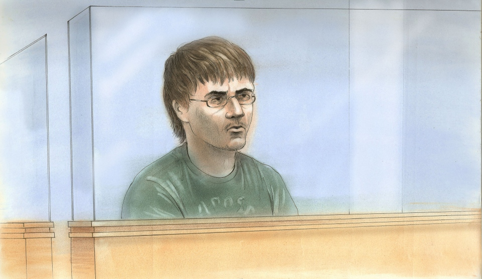 Shayne Lund is depicted in this court sketch created during his appearance in Barrie court Dec. 16, 2013.