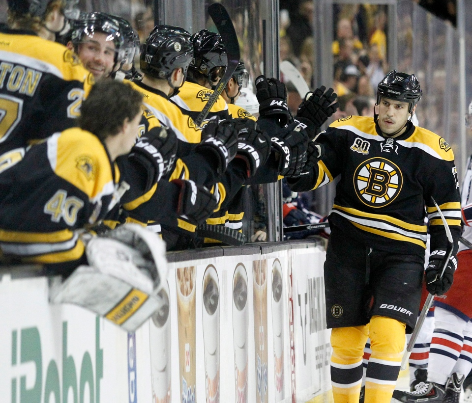 Boston Bruins left wing Milan Lucic (17) is congratulated at the bench after scoring a goal during the first period of an NHL hockey game against the Columbus Blue Jackets on Nov. 30, 2013. (AP Photo/Mary Schwalm)