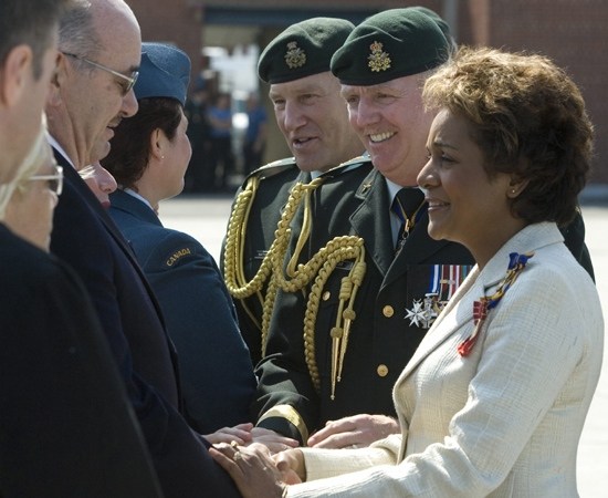 Former Chief of Defence Staff Gen. Rick Hillier, the new Chief of Defence Staff Gen. Walt Natynczyk (left) and Governor General Michaelle Jean greet Canadian veterans and family members of soldiers killed in Afghanistan at a change of Command ceremony in Ottawa Wednesday, July 2, 2008. (Tom Hanson / THE CANADIAN PRESS)