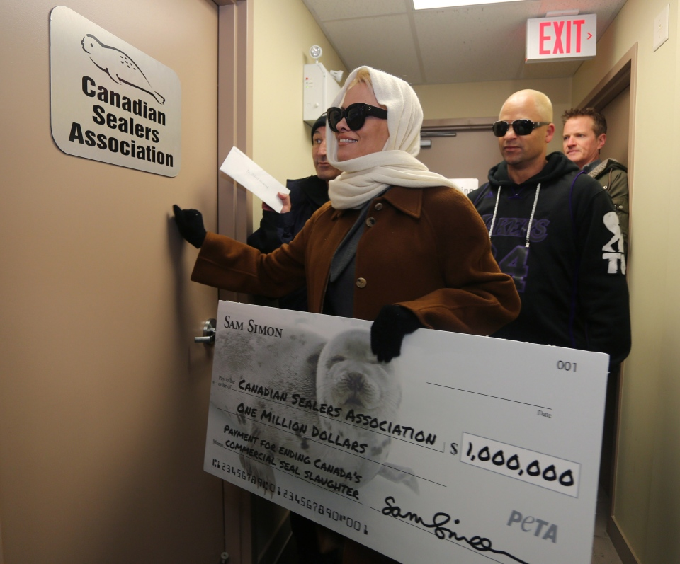 Pamela Anderson attempts to deliver a letter with a million-dollar cheque to end the annual commercial seal hunt to the office of the Canadian Sealers Association in St. John's, N.L., Tuesday, Dec.17, 2013. (Paul Daly / THE CANADIAN PRESS)