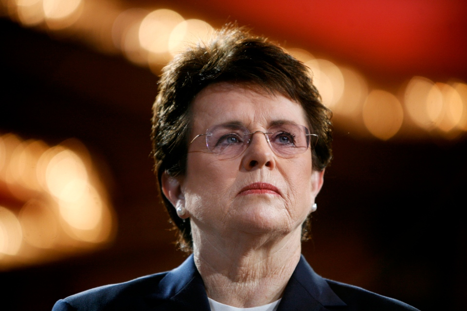 Tennis champion Billie Jean King is introduced during a town hall conversation hosted by the group Women for Hillary in New York on June 4, 2007. (AP / Jason DeCrow)