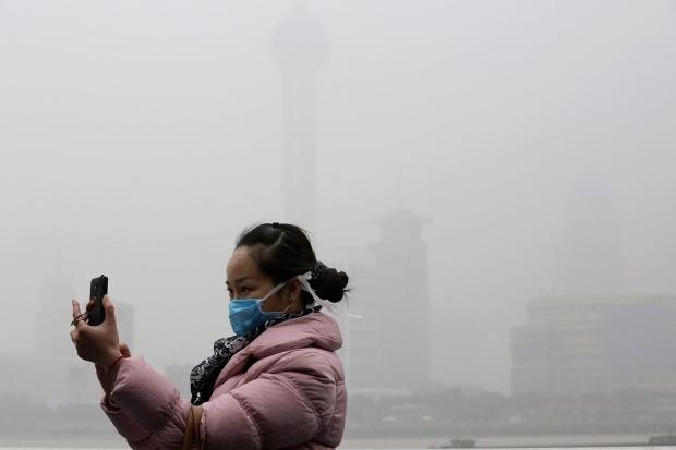 Air pollution seen in Shanghai, China
