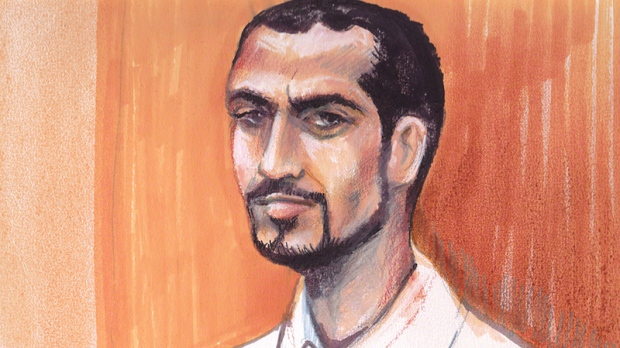 Artist's sketch of Omar Khadr