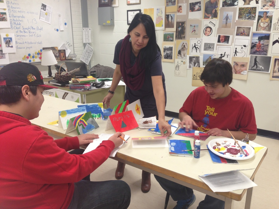 Cree language students in Belinda Daniels' class make Christmas cards for incarcerated aboriginal youth.