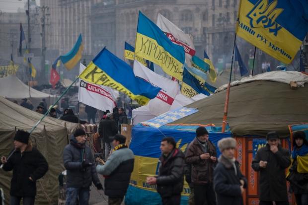 Pro-European Union activists in Kiev