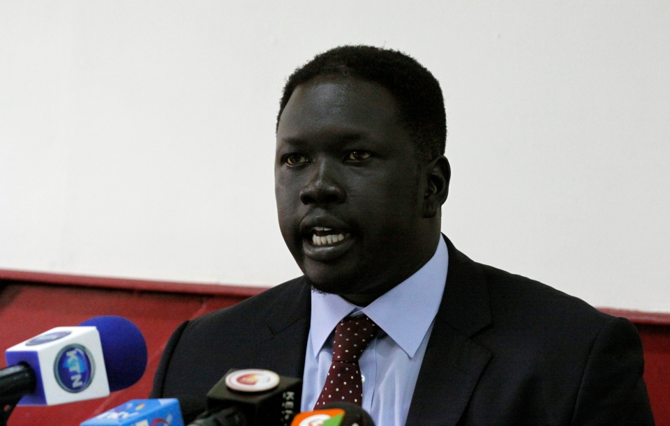 Choul Laam, the chief of staff for the secretary general for the ruling Sudanese Peoples Liberation Movement speaks during a press conference in Nairobi, Kenya, Thursday, Dec. 19, 2013. (AP / Khalil Senosi)
