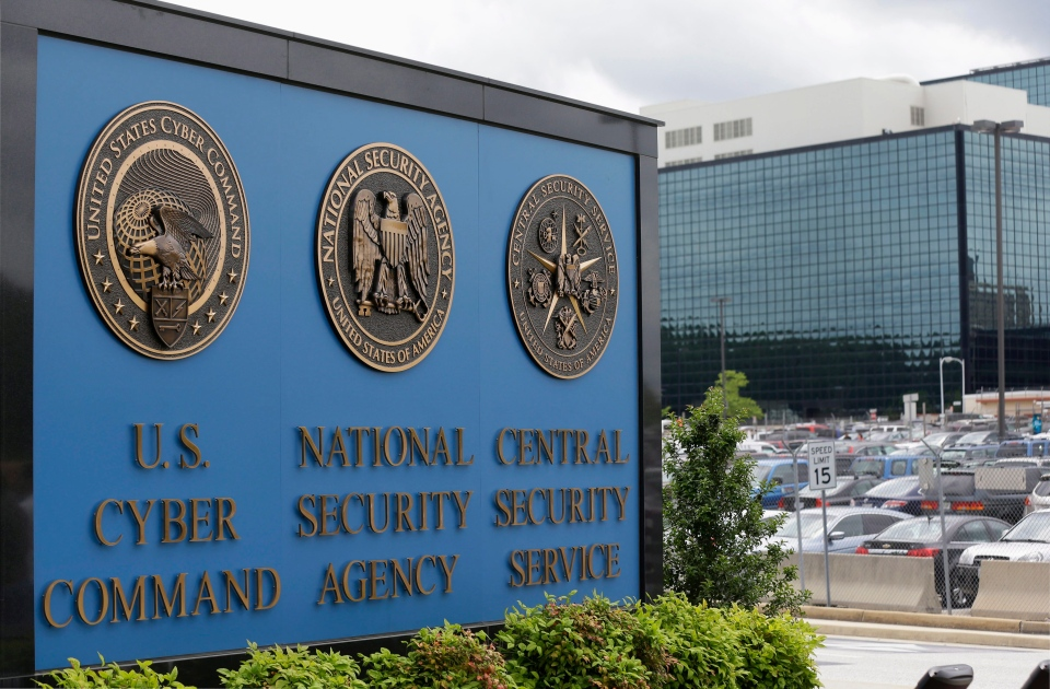 This file photo shows the sign outside the National Security Agency campus in Fort Meade, Md. on June 6, 2013. (AP / Patrick Semansky)