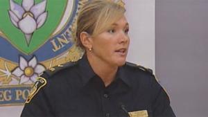 Const. Natalie Aitken of Winnipeg speaks about the arrest of three suspects on Aug. 9, 2011.