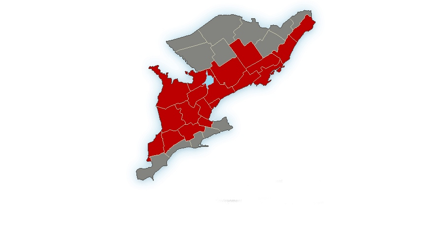 A freezing rain warning and special weather statement has been issued for much of southern Ontario, Friday, Dec. 20, 2013. (Environment Canada)