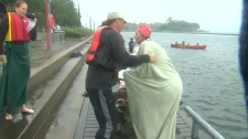 Christine Arsenault on August 9, 2011, after she swam the length of Lake Ontario for charity.