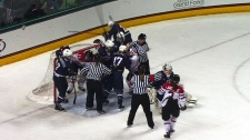 U.S., Canada women's hockey teams fight