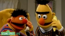 Puppets Bert and Ernie appear in a still from PBS's Sesame Street program.