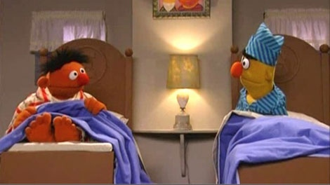 Ernie and Bert lie in seperate single beds in an episode of PBS's Sesame Street program.