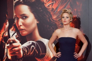 Actress Jennifer Lawrence poses for the photographers during the premiere of the movie 'The Hunger Games: Catching Fire' at Callao Cinema in Madrid, Spain, Nov. 13, 2013. (AP / Abraham Caro Marin)