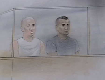 Toronto Police Constables Patrick Lee, left, and Kevin Bourne are seen in this court sketch on Friday, July 4, 2008.
