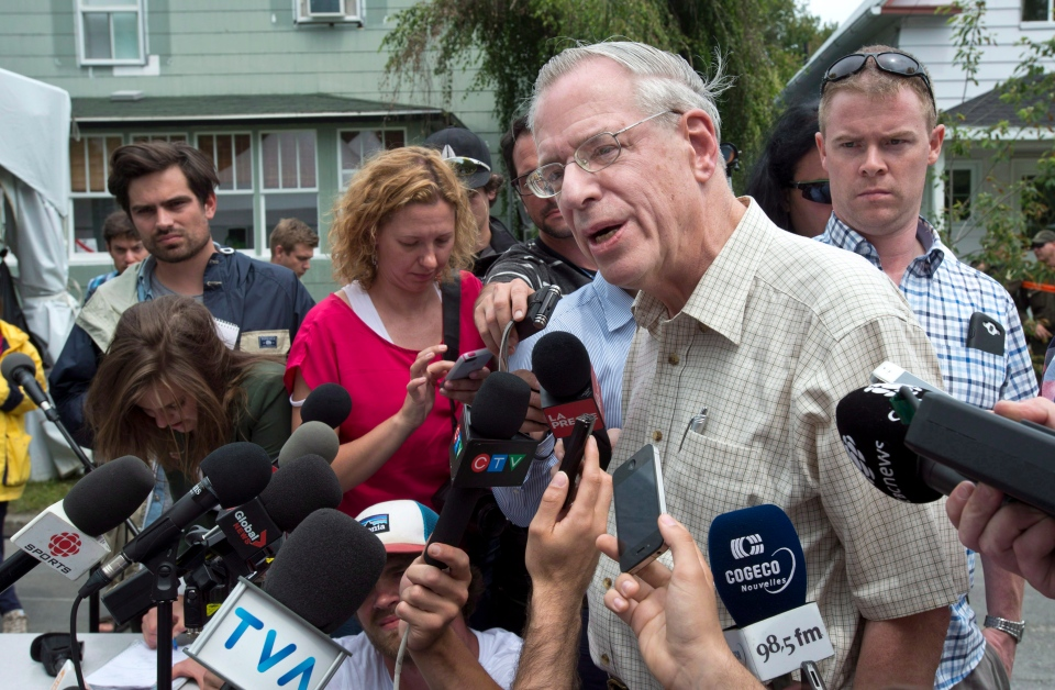 Edward Burkhardt speaks to the media as he tours Lac-Megantic, Que., July 10, 2013. (Paul Chiasson / THE CANADIAN PRESS)