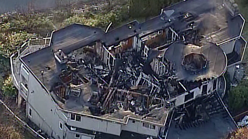 The aftermath of a devastating fire that tore through a multi-million dollar home in West Vancouver Friday, Dec. 27, 2013. (CTV)