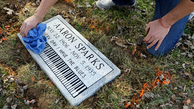 Marker on the grave of blues musician Aaron Sparks