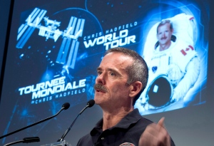 Canadian astronaut Chris Hadfield speaks at a news conference where he announced his plans to retire from the Canadian Space Agency, in Longueuil, Que., Monday, June 10, 2013. (Paul Chiasson / THE CANADIAN PRESS)