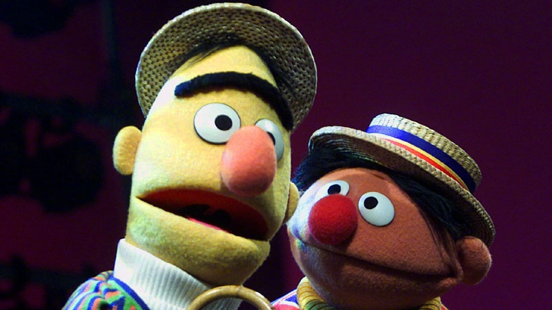"""In this Aug. 22, 2001 file photo, Muppets Bert, left, and Ernie, from the children's program """"Sesame Street,"""" are shown in New York. (AP Photo/Beth A. Keiser, file)"""
