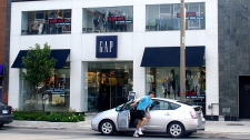 Gap Inc. is one retailer offering paperless receipts to Canadian consumers. This Gap store pictured above was photographed on August 13, 2011, in North Toronto. (CTV News/Geoff Nixon)