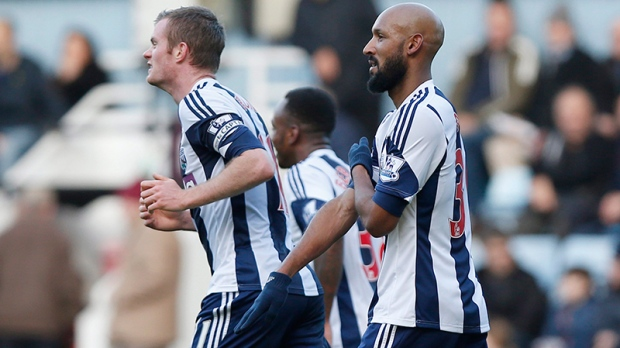 West Bromwich Albion's Nicolas Anelka gestures