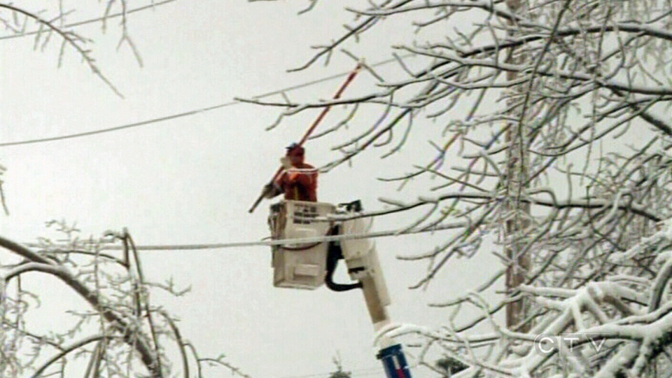 Hydro crews are working to restore power to about 4,000 New Brunswick customers affected by last week's ice storm.