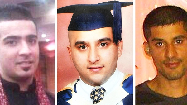 In this combo image of undated photographs provided by family on Wednesday, Aug. 10, 2011, from left, Haroon Jahan, Shazad Ali and Abdul Musavir who were killed when a car crashed into them in Birmingham, England on Tuesday, Aug. 9, 2011. (AP / PA)