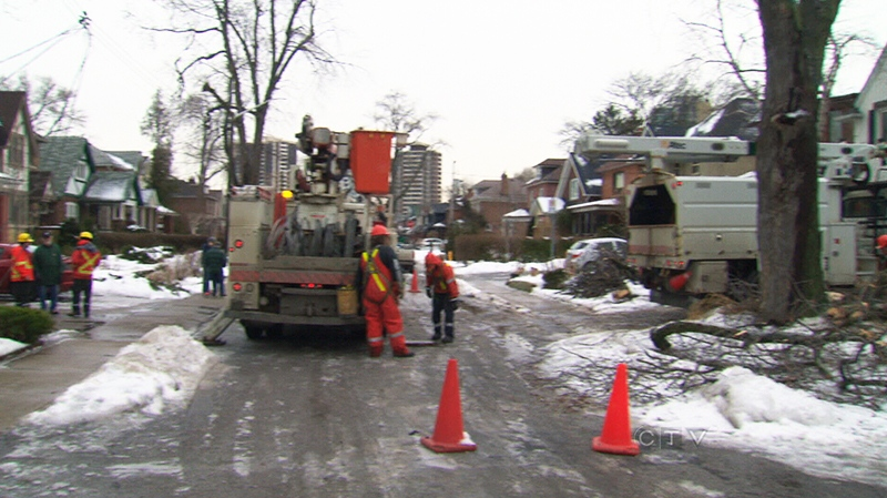 Hydro workers continue to restore power in Toronto.