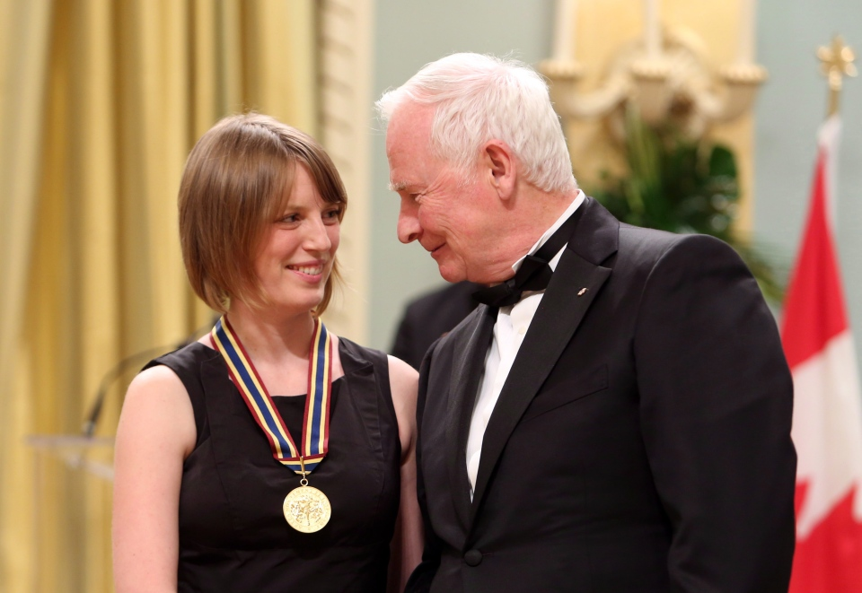 Film Director, screenwriter and actress Sarah Polley receives the National Arts Centre Award and shakes hands with Governor General David Johnston during a ceremony of the Governor General's Performing Arts Awards at Rideau Hall, the official residence of the Governor General, in Ottawa, Friday May 31, 2013. (Fred Chartrand / THE CANADIAN PRESS)