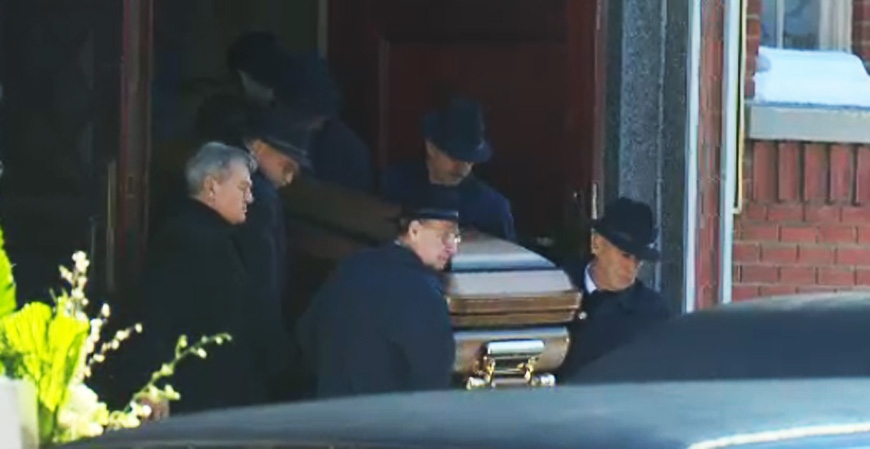 Pallbearers are seen carrying Vito Rizzuto's casket into the church Monday afternoon. (CTV Montreal Dec. 30, 2013)