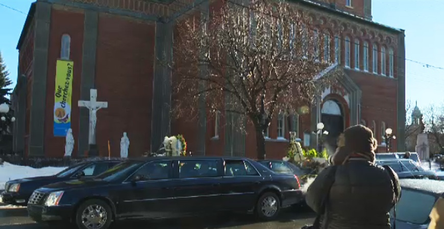 Hundreds braved the cold weather to attend Vito Rizzuto's funeral Monday on Dante St. (CTV Montreal Dec. 30, 2013)