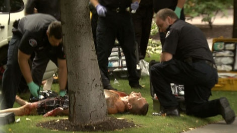 Six people were injured after a shooting outside a Kelowna hotel on Sunday, August 14, 2011. (CTV)