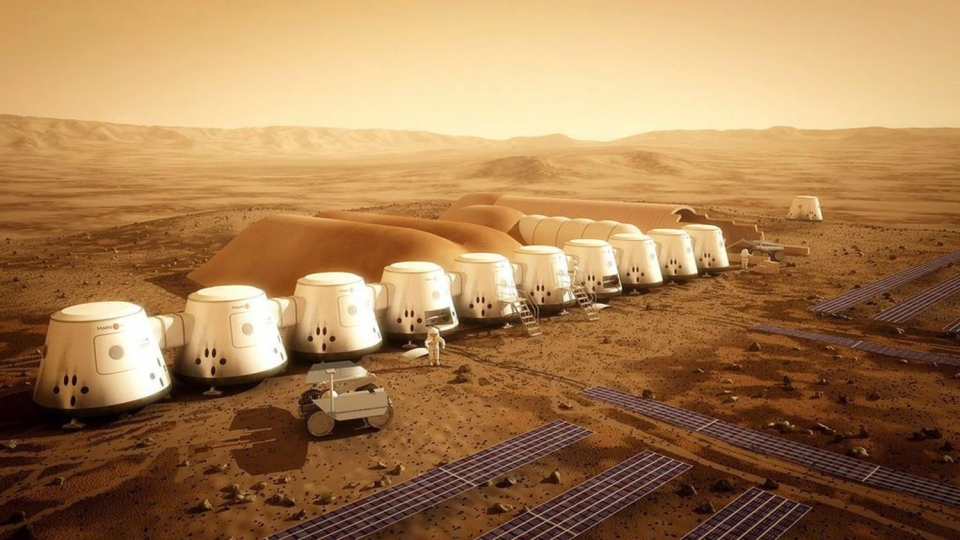 An artist's rendition of the Mars One settlement is shown in a handout photo. (Bryan Versteeg / THE CANADIAN PRESS)