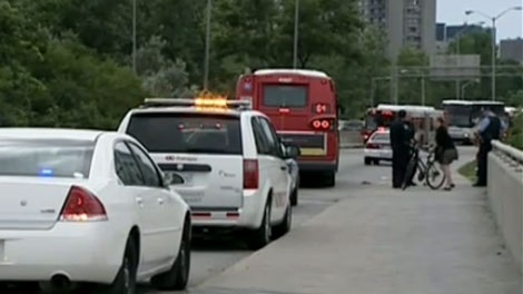 The Transitway was briefly shut down after a man was hit by a bus Monday, August 15, 2011.