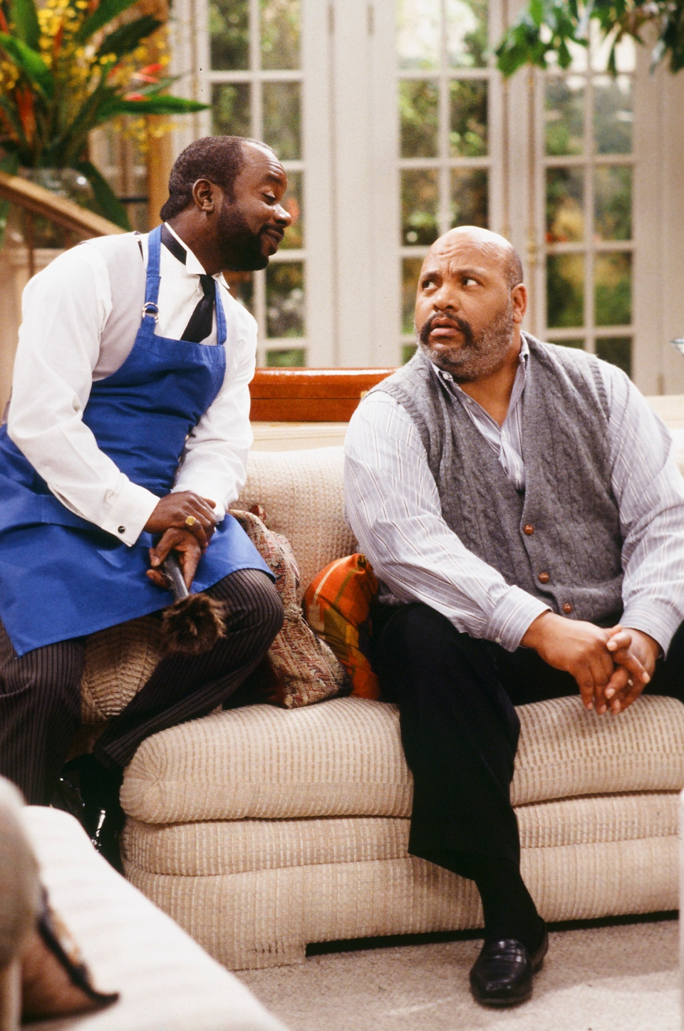 This photo provided by NBC shows, Joseph Marcell, left, as Geoffrey, and James Avery, as Philip Banks, in the episode 'Papa's Got a Brand New Excuse' from the TV series, 'The Fresh Prince of Bel-Air' (AP / Margaret Norton)