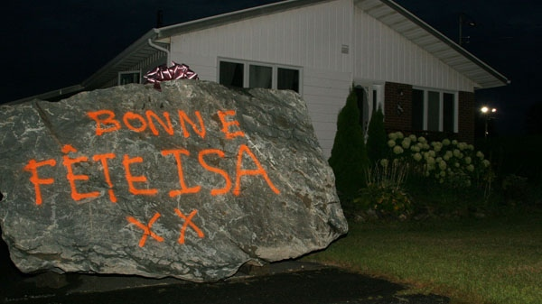 The mayor of St-Theodore-d'Acton, east of Montreal, says he left the rock on his ex-wife's lawn as a birthday present. (Courtesy: Voix De L'Est)
