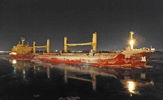 The Federal Spey, is a bulk carrier (full of bulk sugar) operated by the Canadian shipping line Fednav International, is the first ocean-going vessel to reach the Port of Montreal without a stopover in 2014. (CNW Group/Montreal Port Authority)