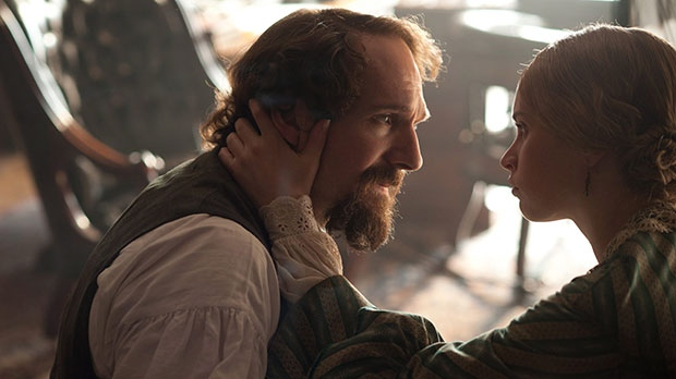 Ralph Fiennes, left, as Charles Dickens and Felicity Jones, as Nelly Ternan, in a scene from Mongrel Media's 'The Invisible Woman'
