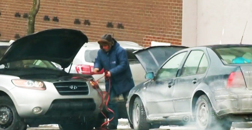 Some of the relatively few Montrealers who braved the freezing day found themselves busy trying to get their cars to work. (CTV Montreal Jan. 2, 2014)