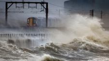A train in Saltcoats, Scotland