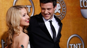 Dianna Agron, left, and Cory Monteith from 'Glee' pose together backstage after the cast of 'Glee' won the award for best comedy ensemble at the 16th Annual Screen Actors Guild awards in Los Angeles on Saturday, Jan. 23, 2010. (AP / Reed Saxon)