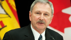 Blaine Higgs talks during a pre-budget news conference in Fredericton on Tuesday, March 22, 2011. (David Smith / THE CANADIAN PRESS)
