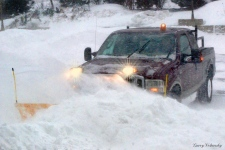 A truck plows snow in Dartmouth, N.S.