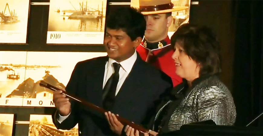 Captain Vijayendra Gurukant Chodankar is seen here accepting the prize for navigating the first ship into Montreal's port for the year 2014. (CTV Montreal Jan. 3, 2013)