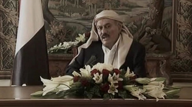 In this image made from video, Yemeni President Ali Abdullah Saleh speaks during a televised address from Saudi Arabia on Tuesday, Aug. 16, 2011. (AP Photo/Yemen TV via APTN)